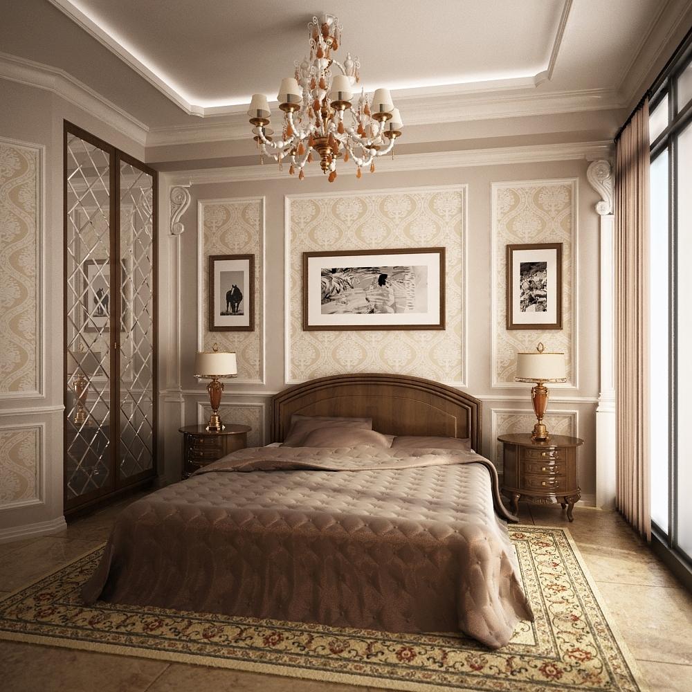Потолок в классическом стиле в спальне