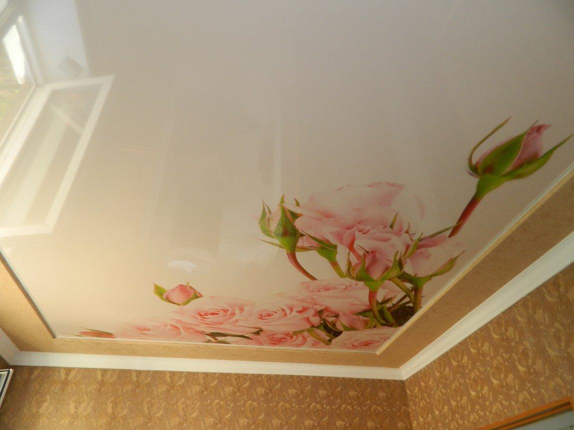 Натяжной потолок с фотопечатью в спальне