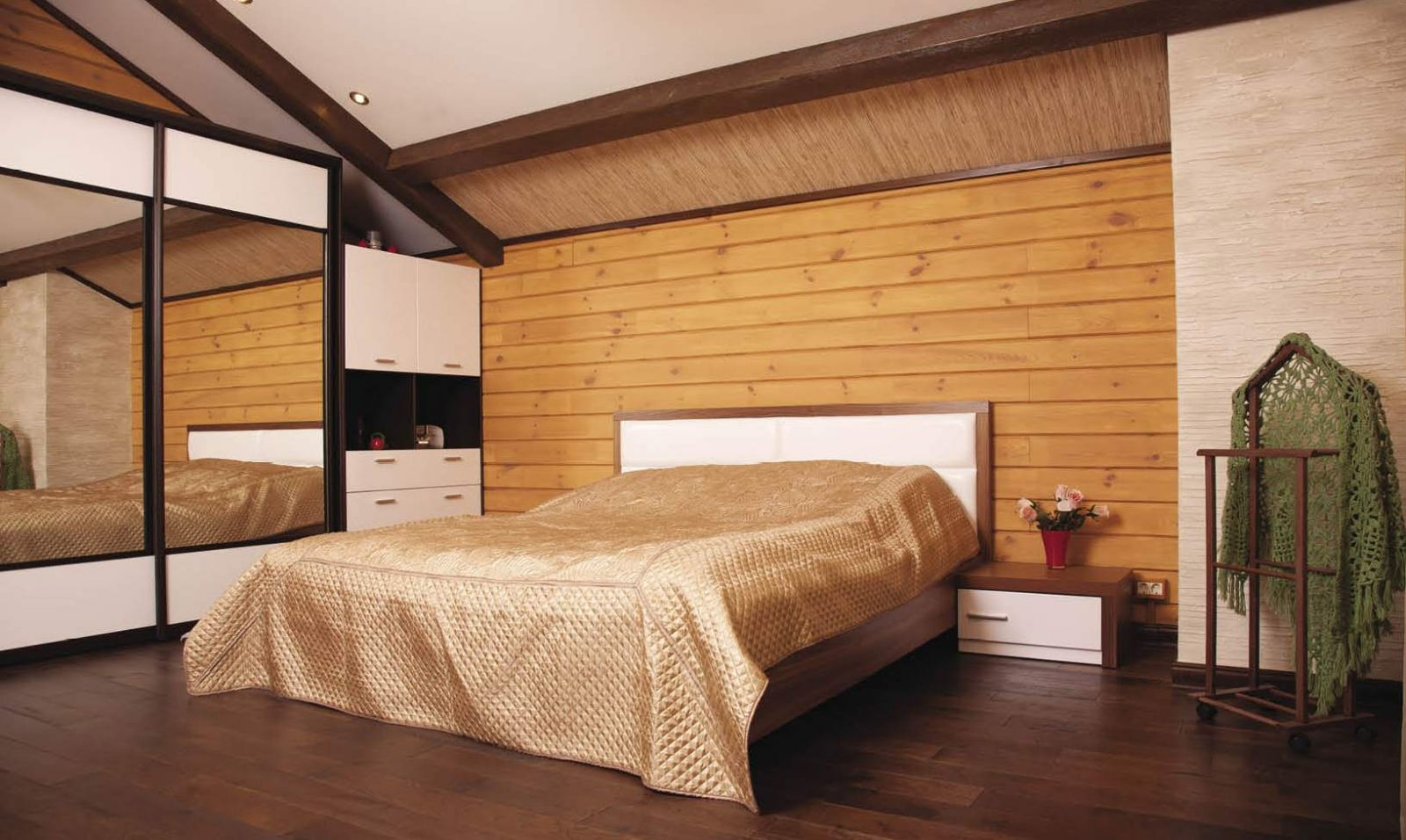 Деревянные обои в спальне