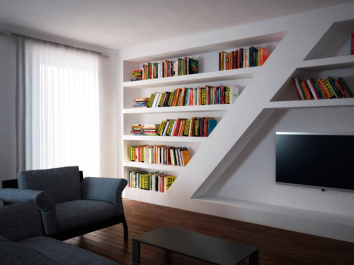 Стеллаж для книг в нише гостиной