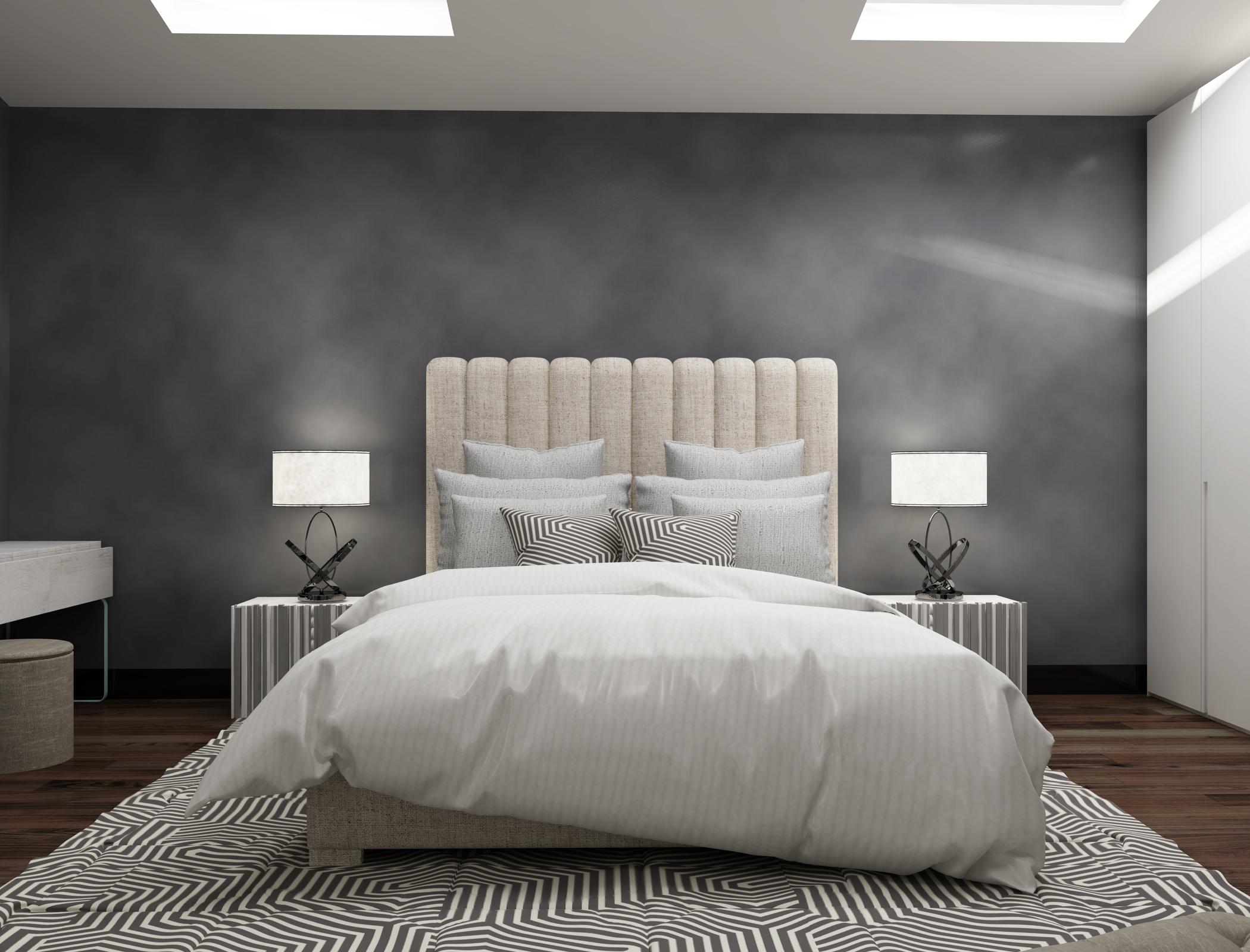 Серая стена в спальне