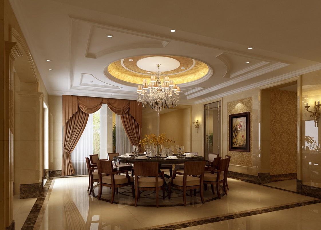 Потолок в классическом стиле в столовой