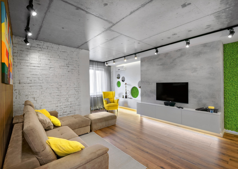 Бетонный потолок в стиле техно