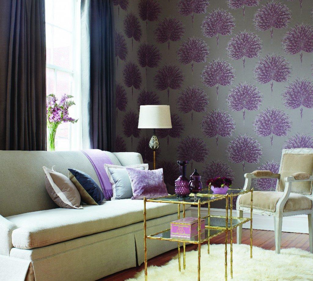 Фиолетовые текстильные обои