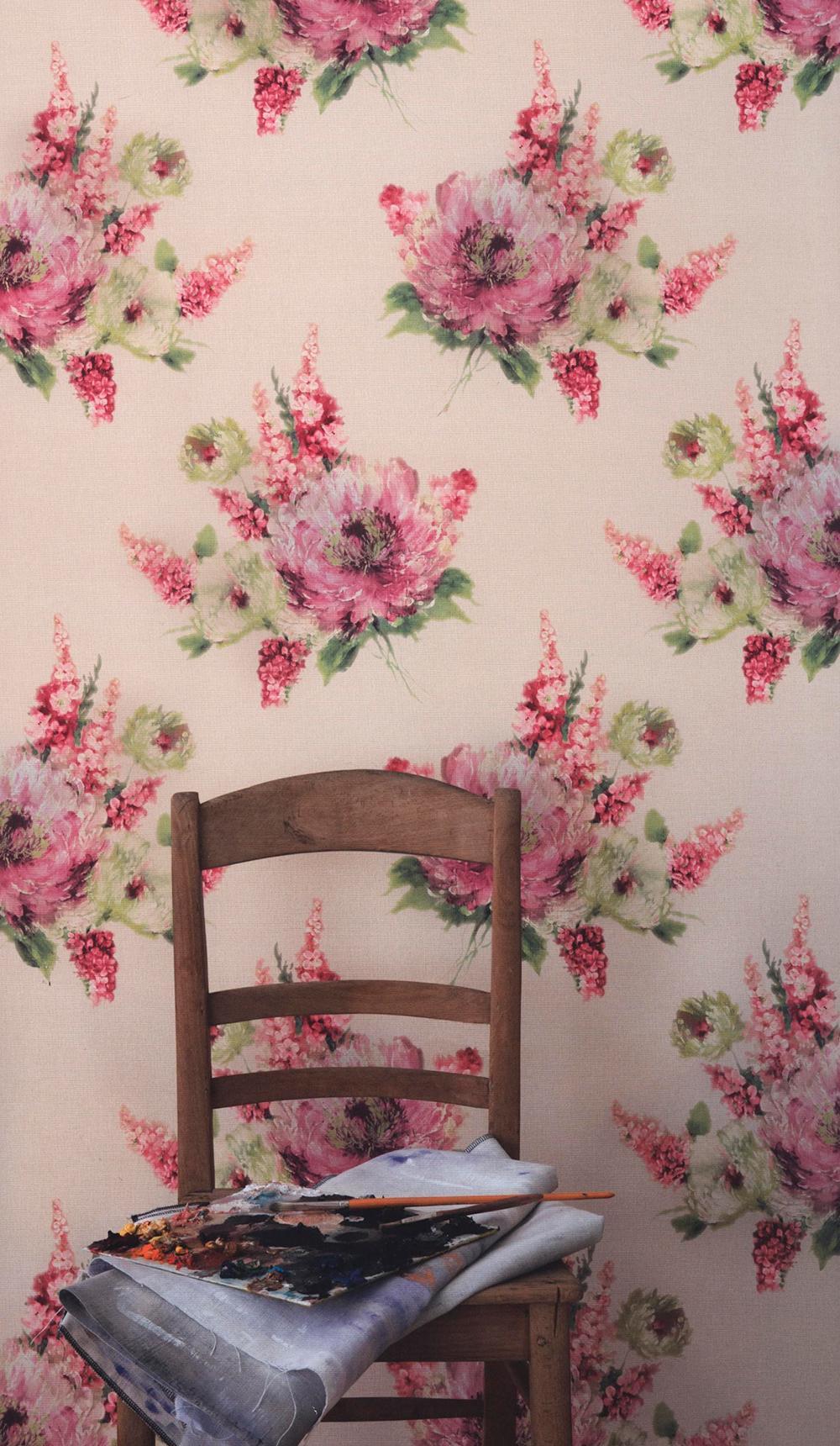 Текстильные розовые обои