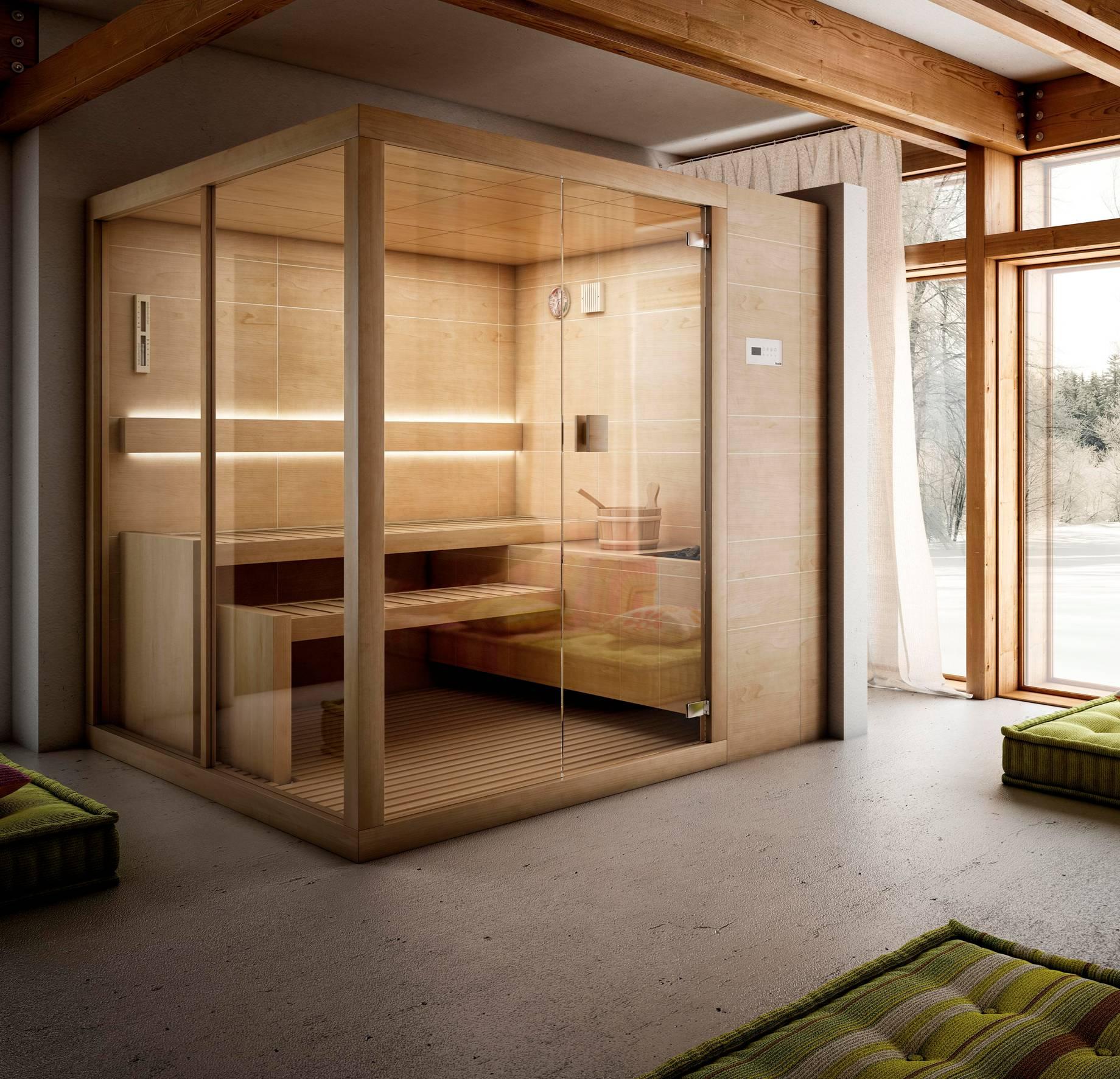 Стеклянная дверь с уплотнителем для сауны