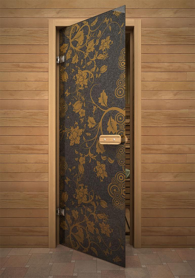 Дверь для бани с узором