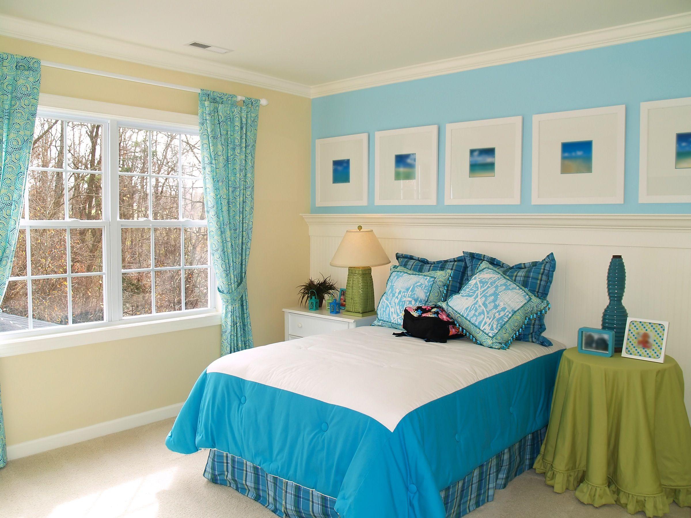 Голубые шторы с узором