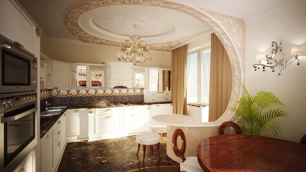Узор на потолке в классическом стиле