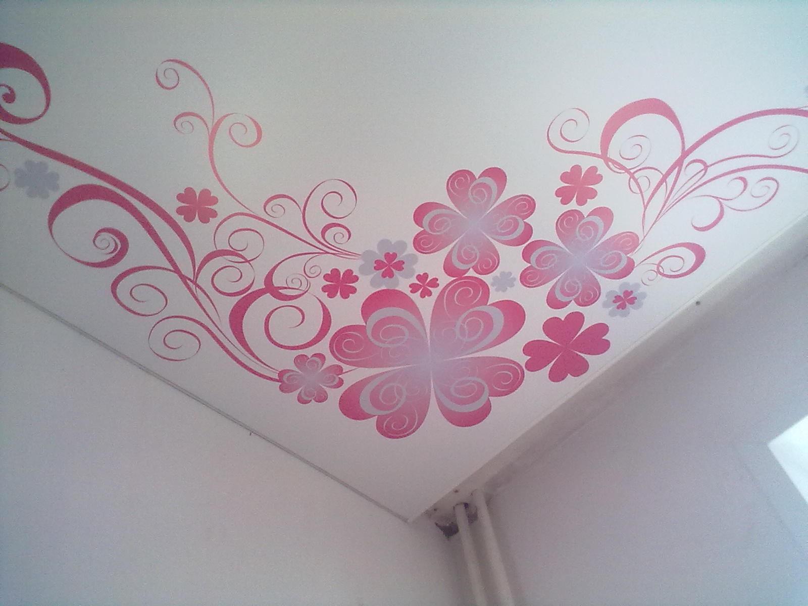 Узор на потолке в детской для девочки