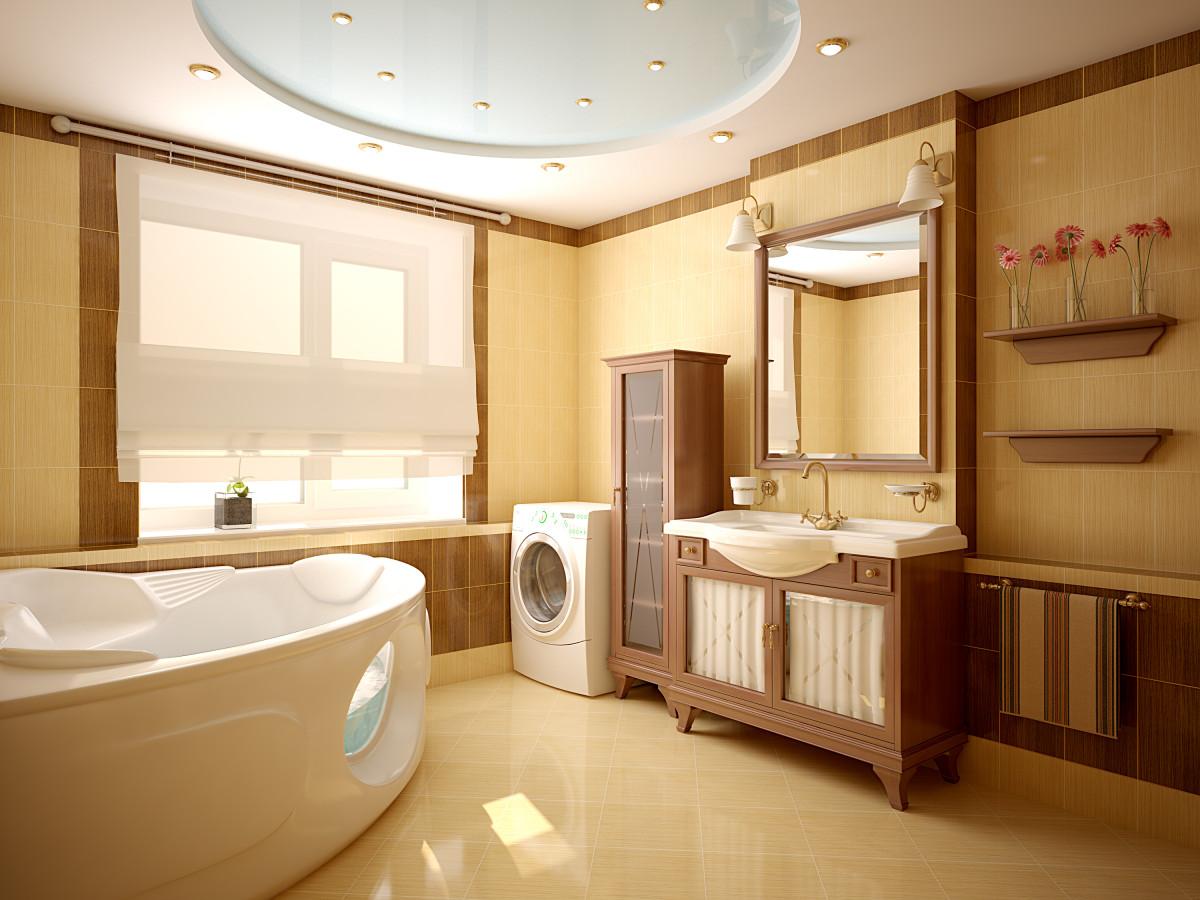 Круглый потолок в ванной