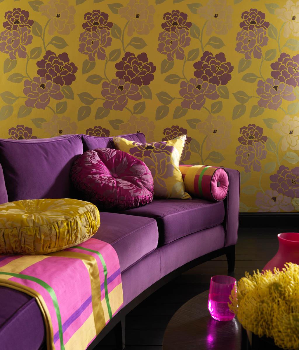 Фиолетовые виниловые обои