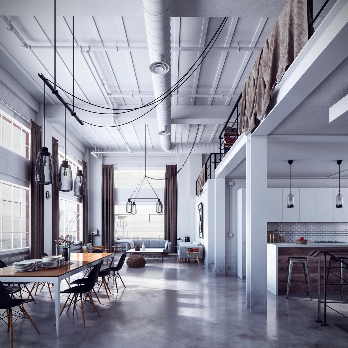 Высокий потолок в стиле лофт