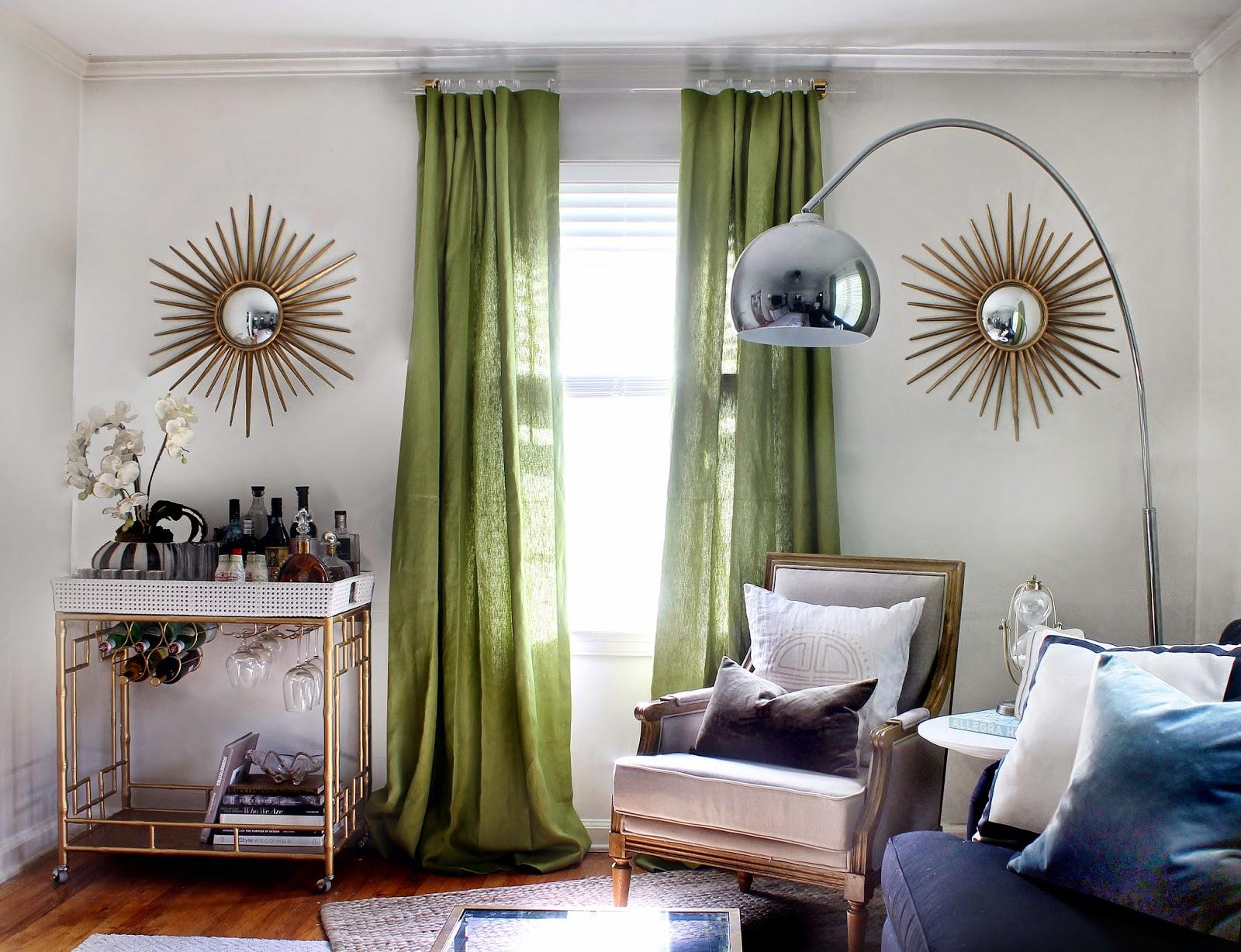 Современные зеленые шторы