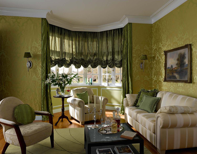 Комбинированные зеленые шторы