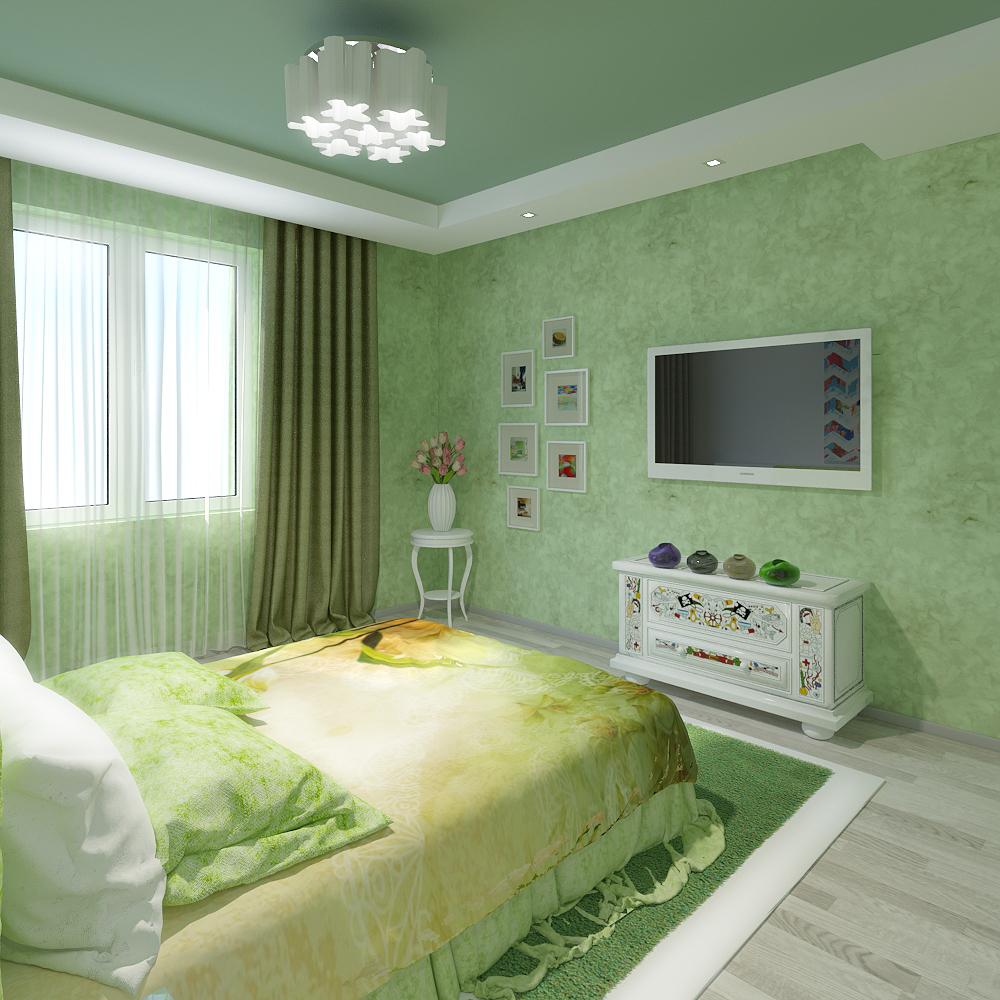 Зеленый натяжной потолок в спальне