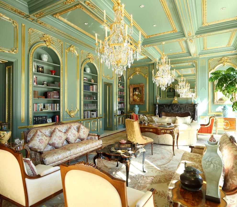 Зеленый потолок в классическом стиле