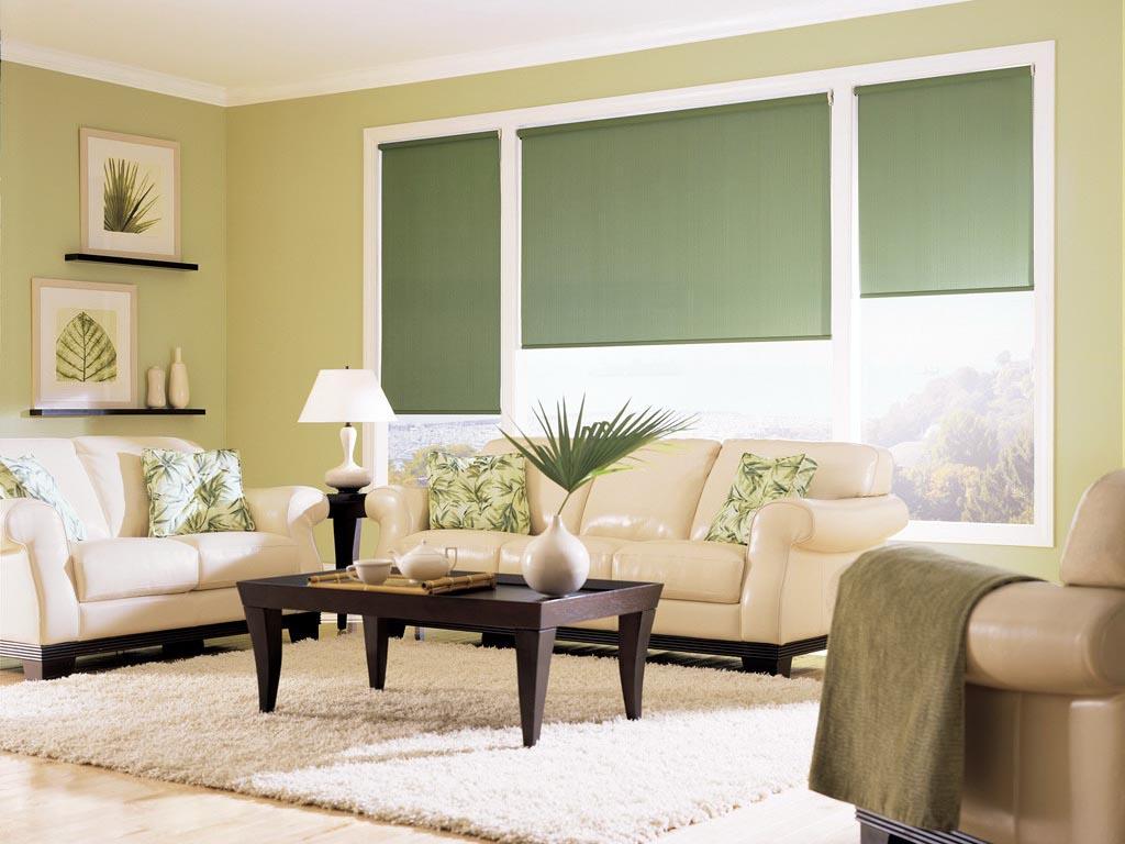 Рулонные зеленые шторы