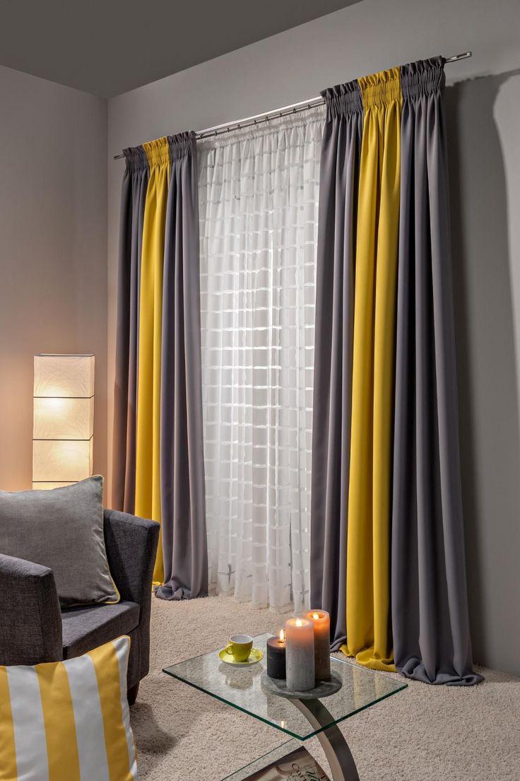 Комбинированные желтые шторы