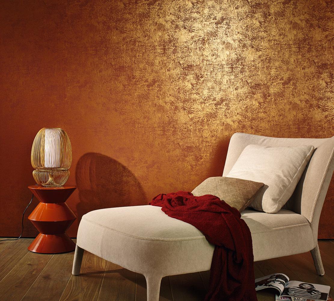Оранжевые обои с золотом