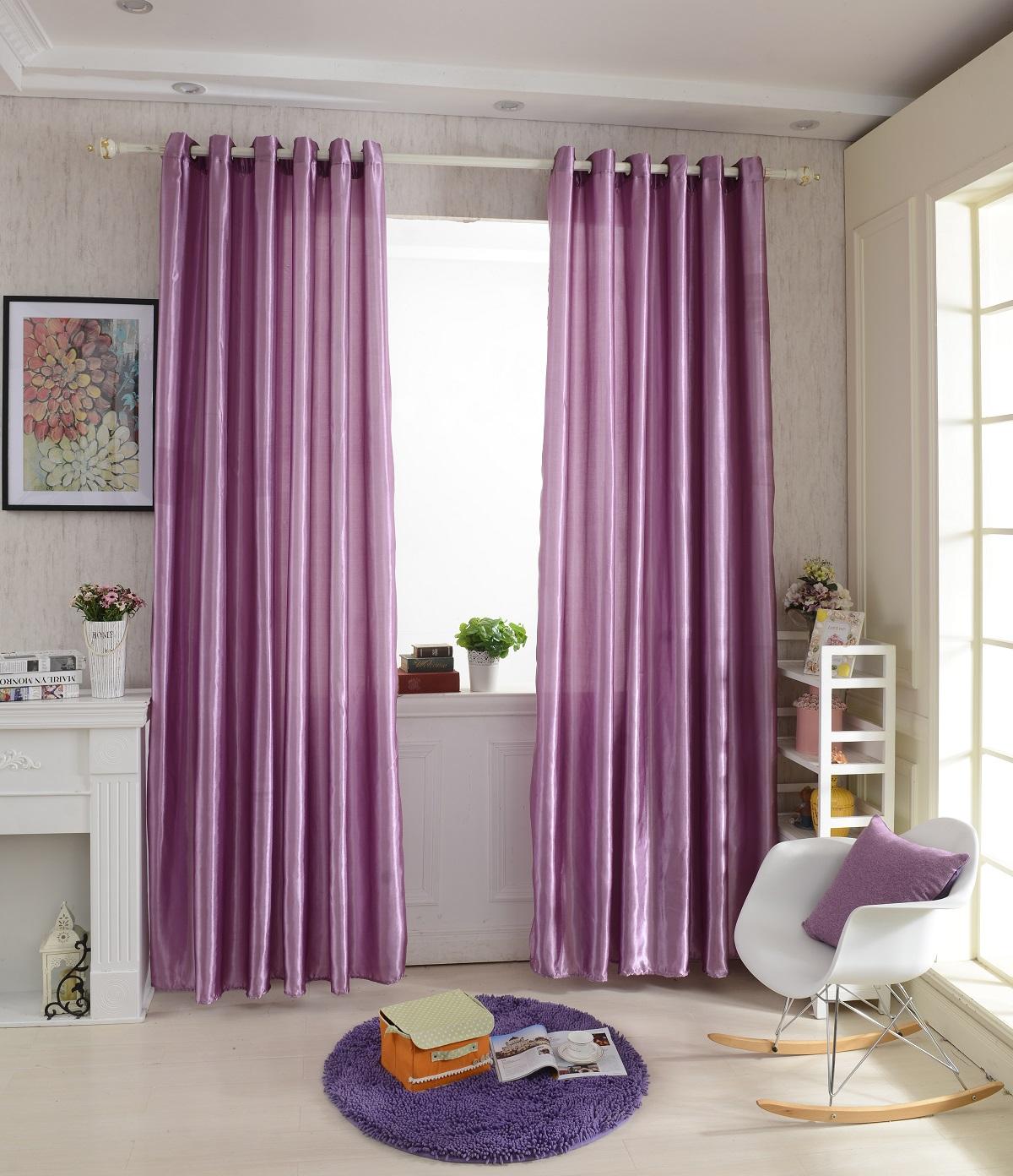 Сиреневые атласные шторы