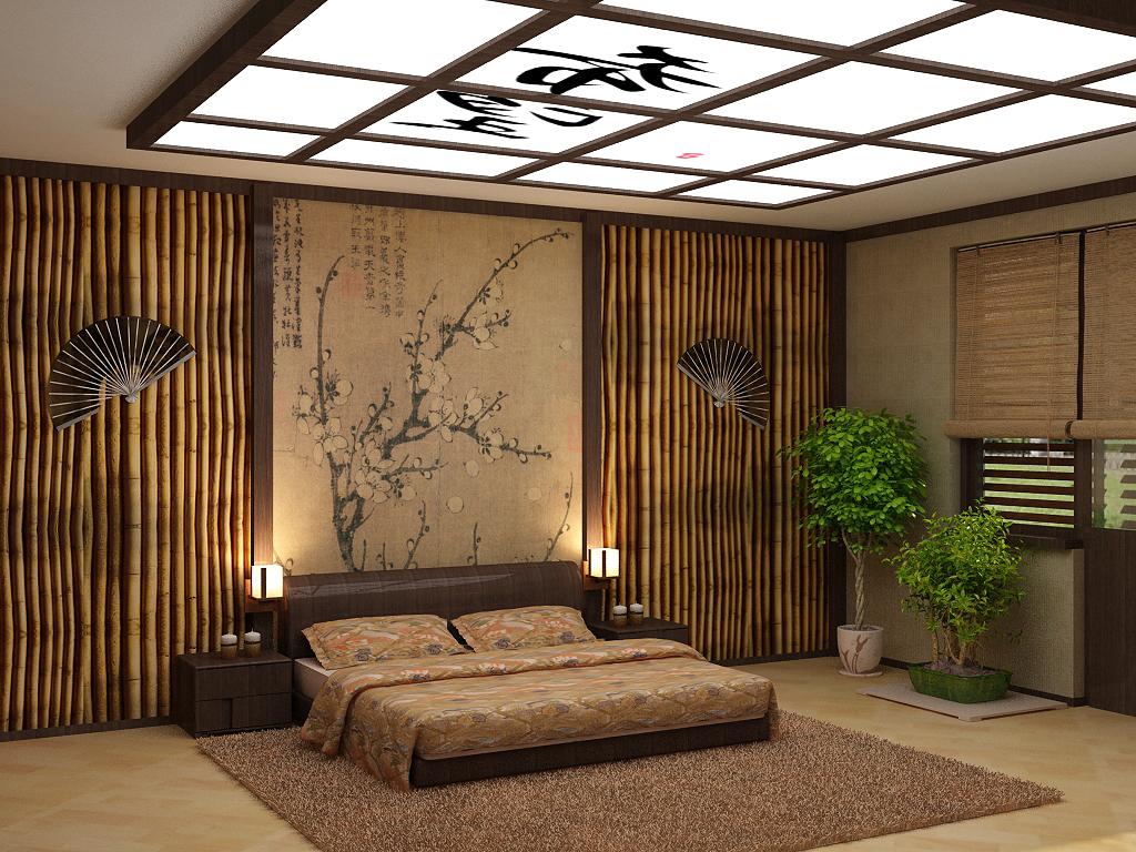 Бамбук в декоре японской спальни