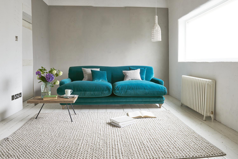 Бирюзовый бархатный диван