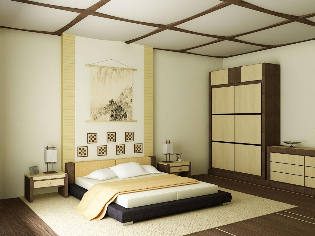 Бежевая спальня в японском стиле