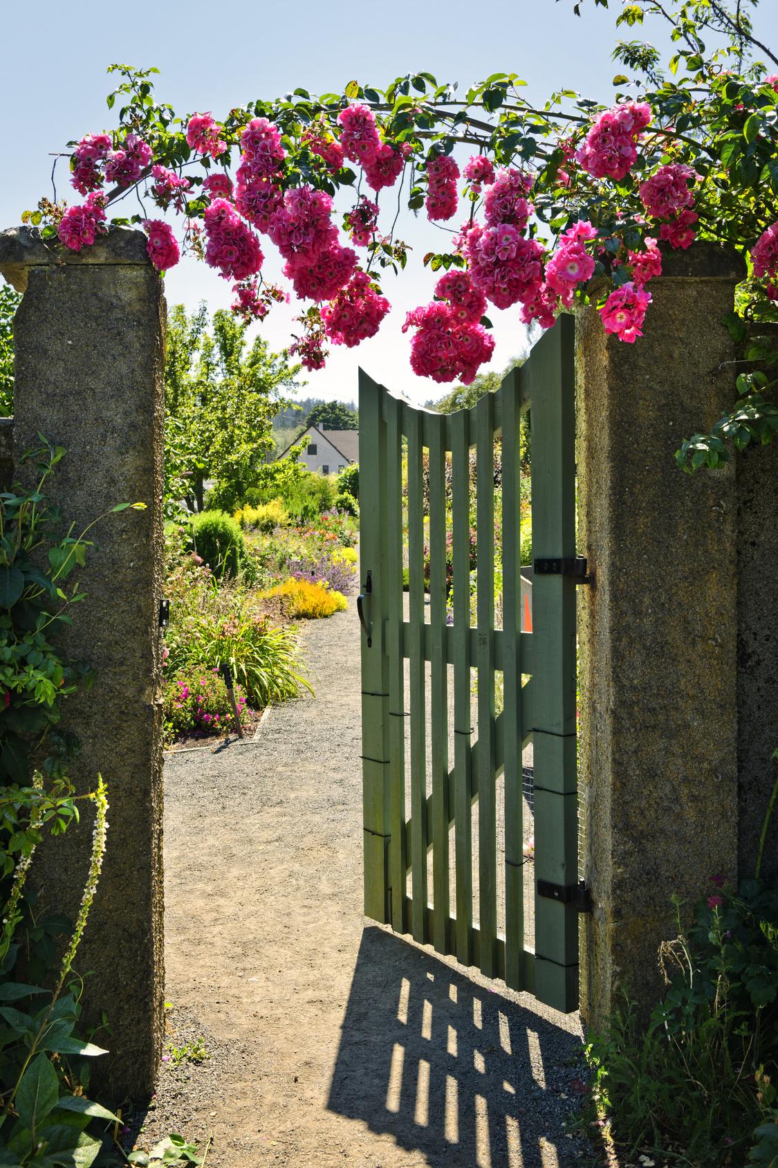 Ворота для дачи на бетонных столбах