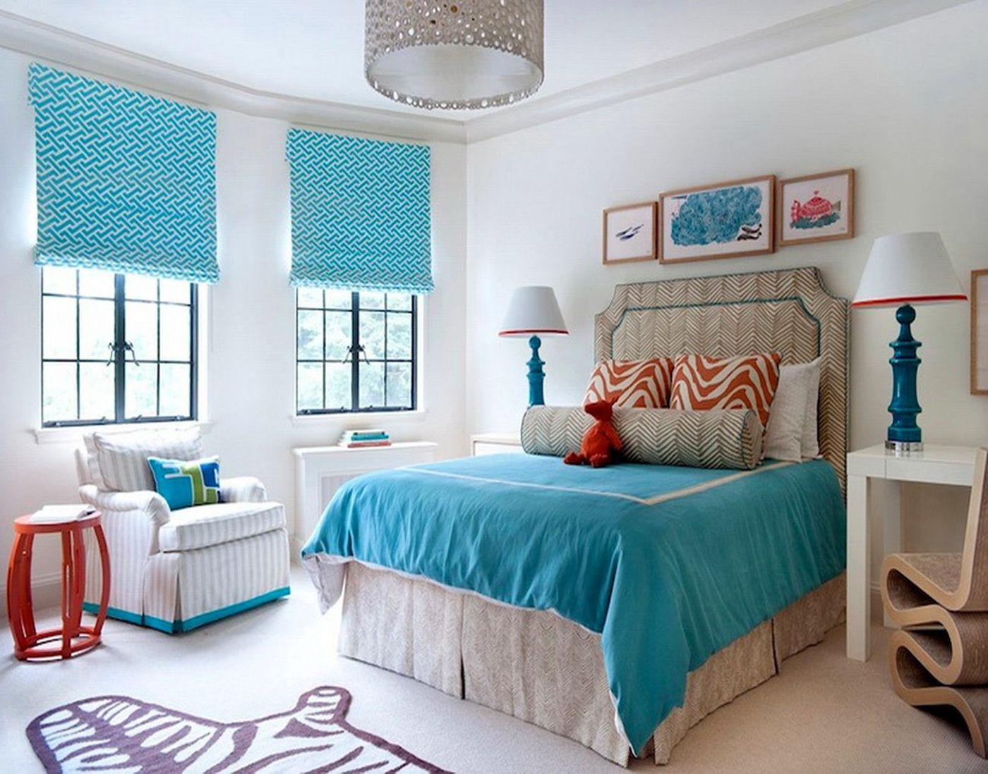Бирюзовые шторы в морском стиле