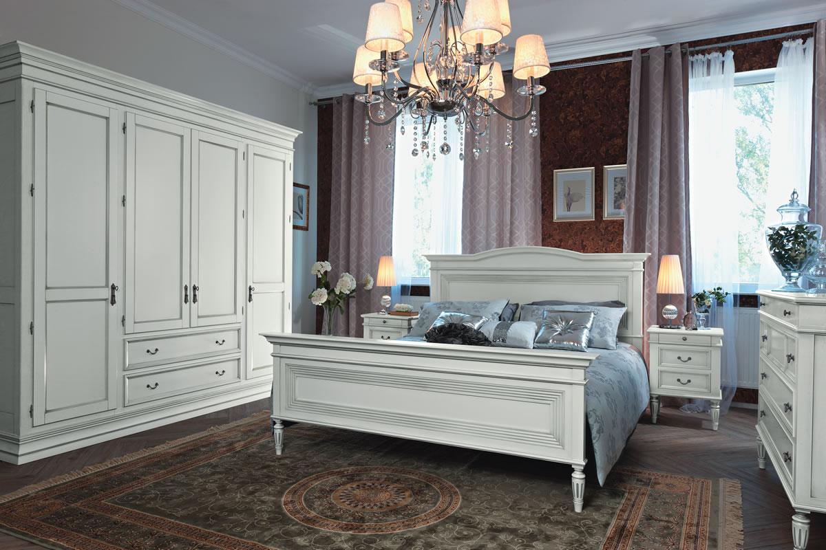 Белая классическая мебель для спальни
