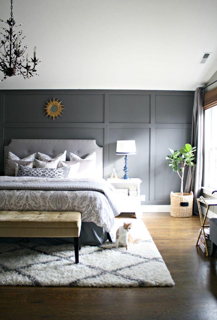 Стены серого цвета в спальне