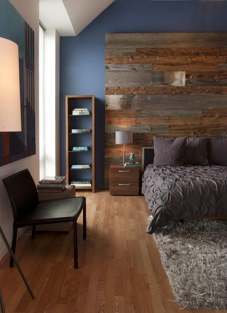 Декор из дерева на стене спальни