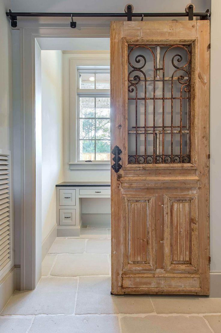 Деревянная дверь с кованым декором
