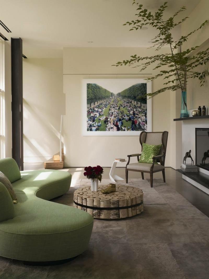 Дизайн зеленого дивана
