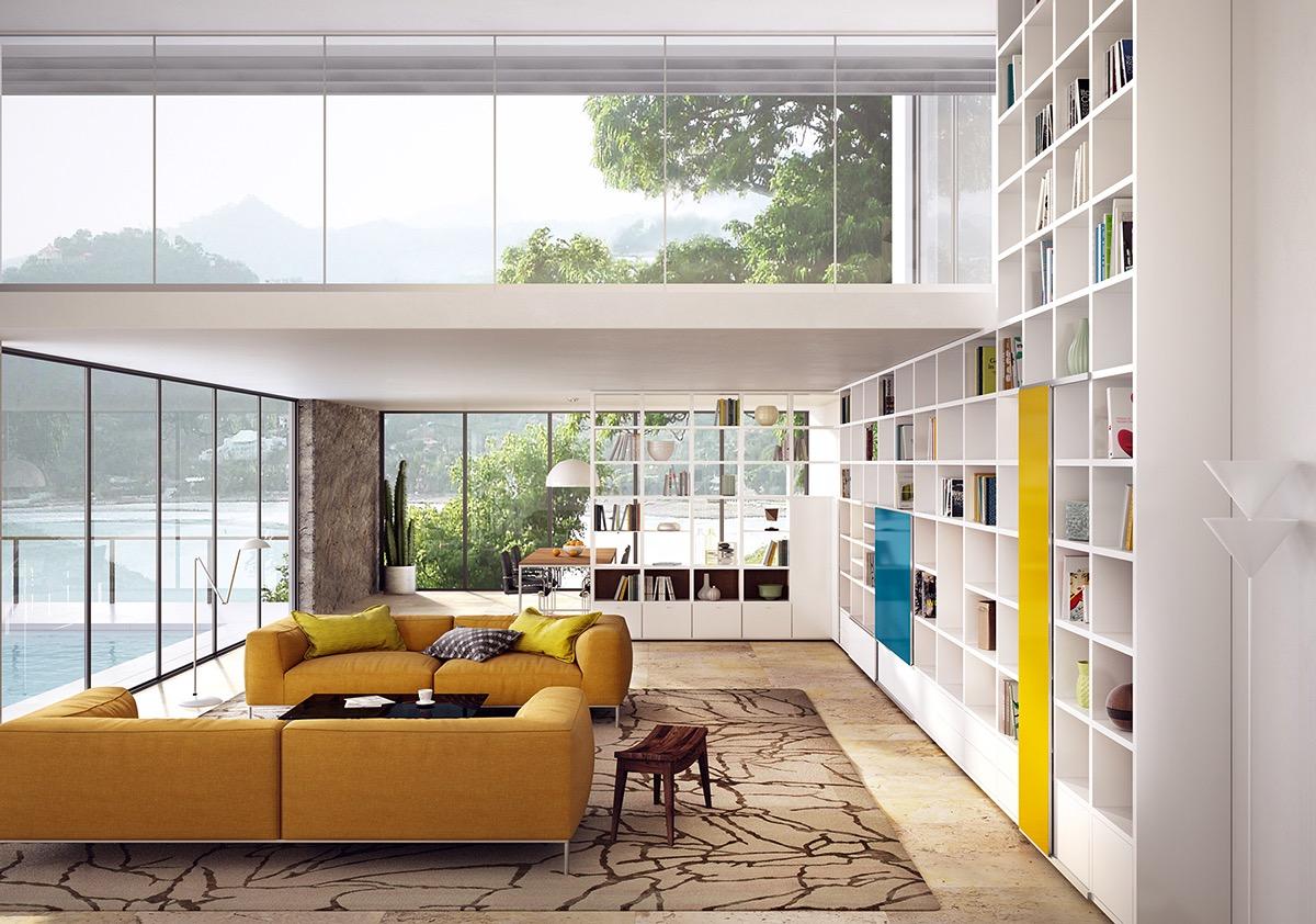 Желтый диван в доме