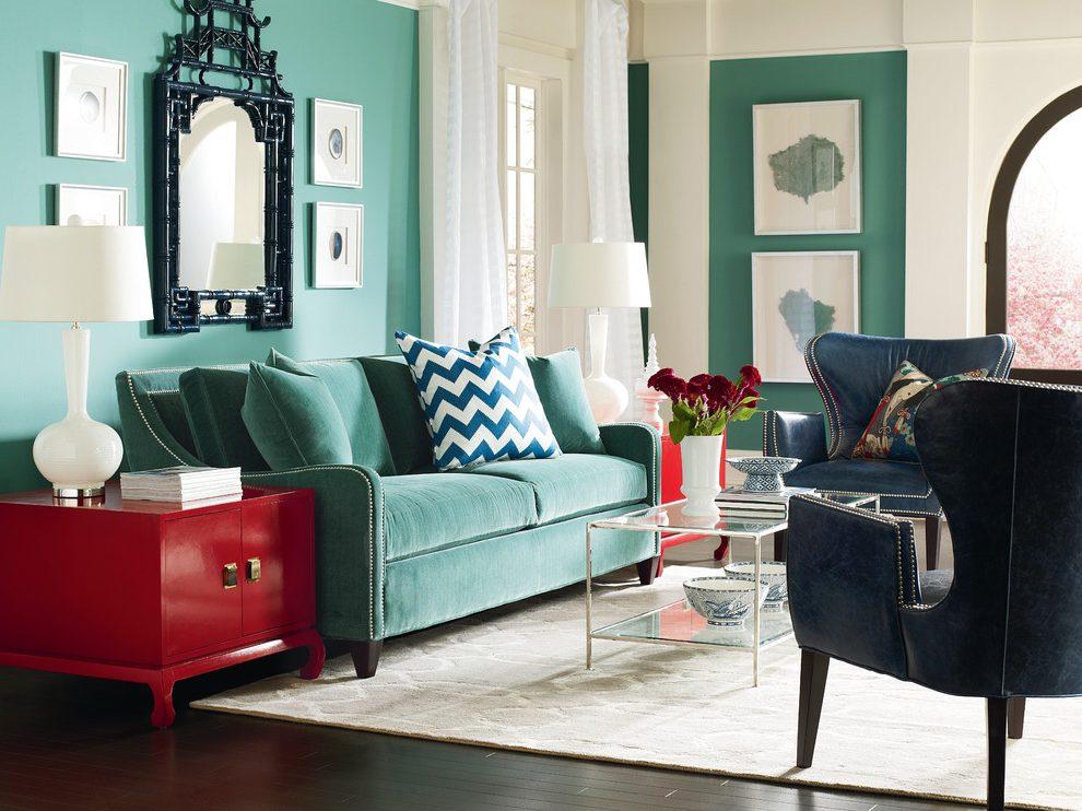 Бирюзовый двухместный диван