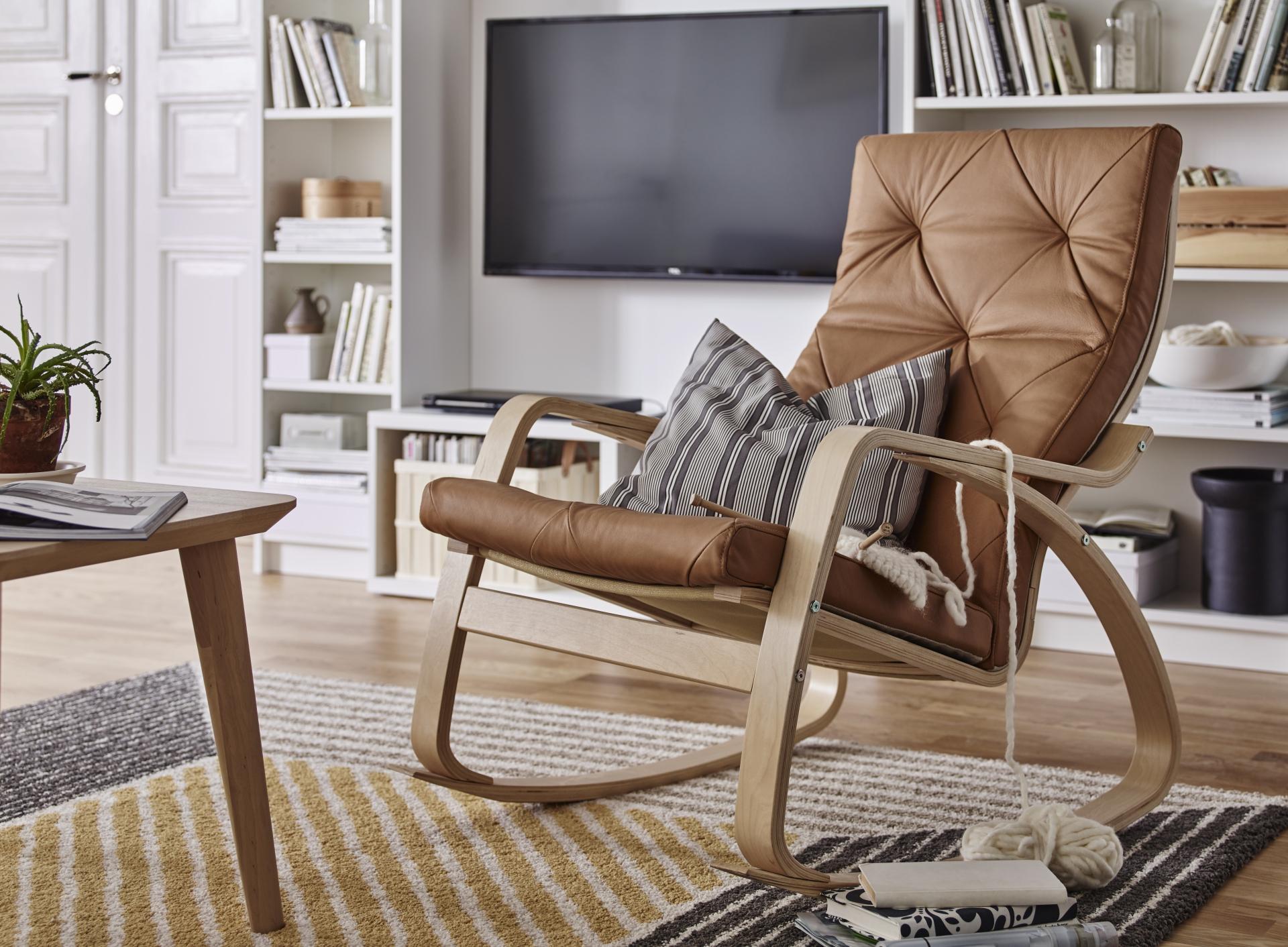 Кресло поэнг из экокожи