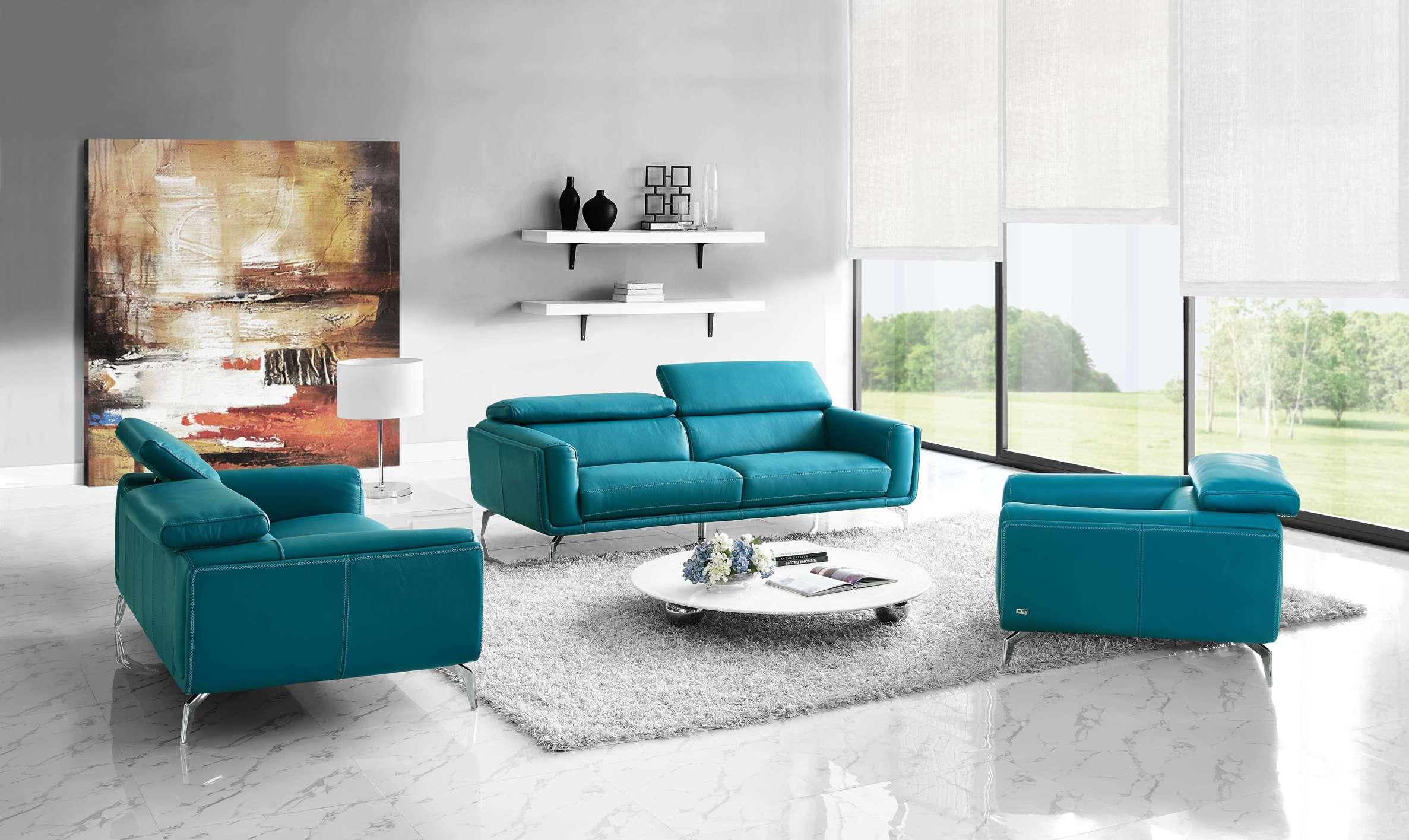 Бирюзовый диван из экокожи