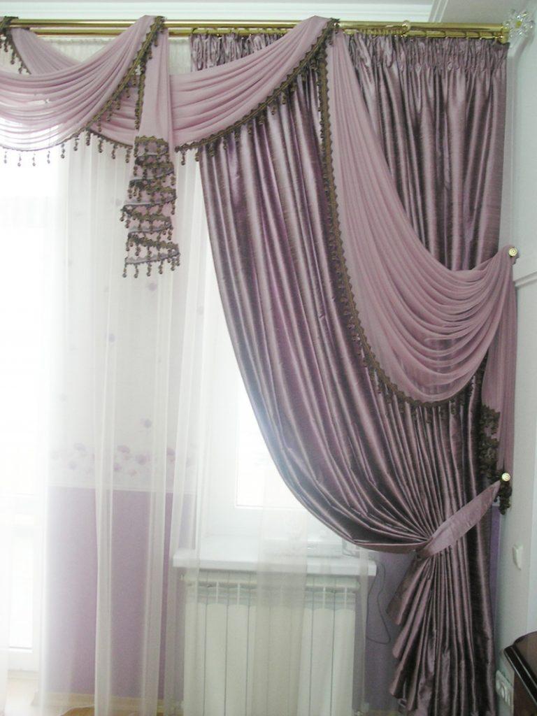 Фиолетовые шторы на одну сторону