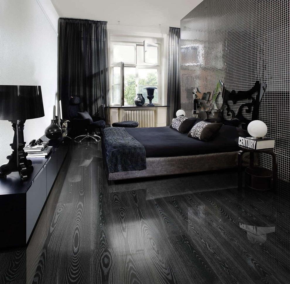 Черный глянцевый ламинат