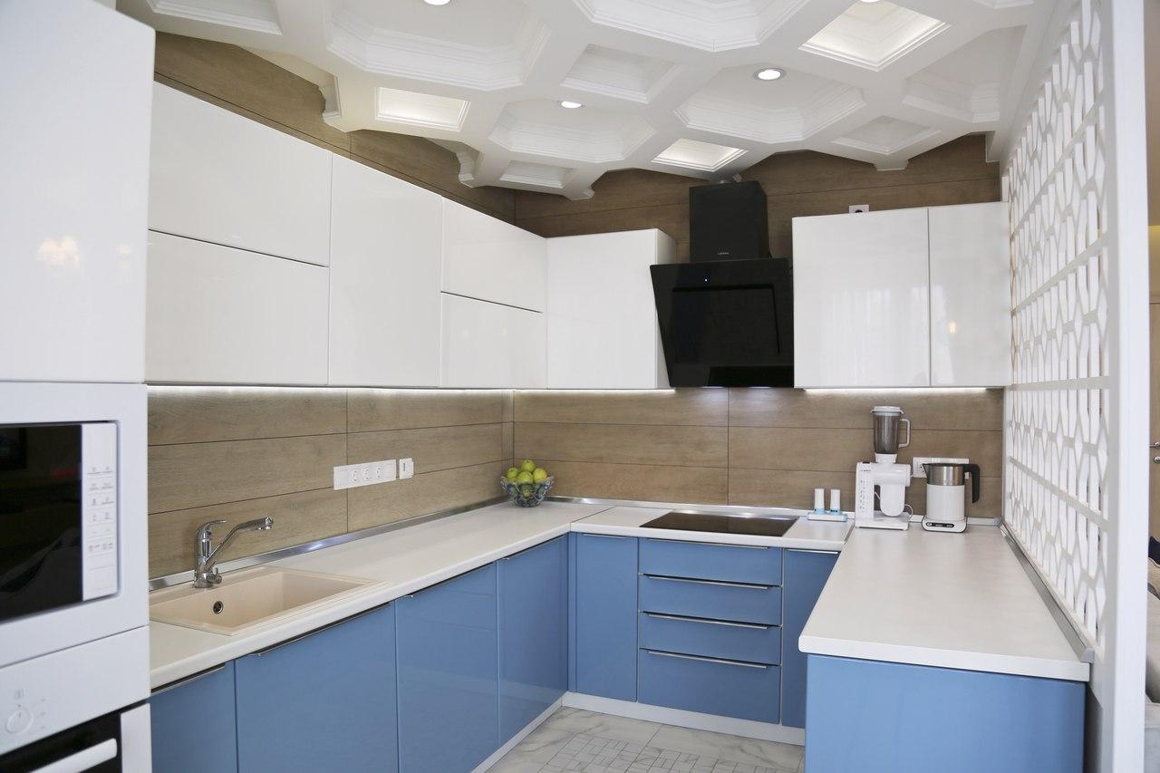 Голубая кухня МДФ