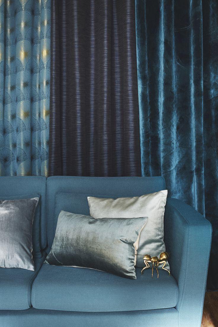 Двойные шторы из разной ткани