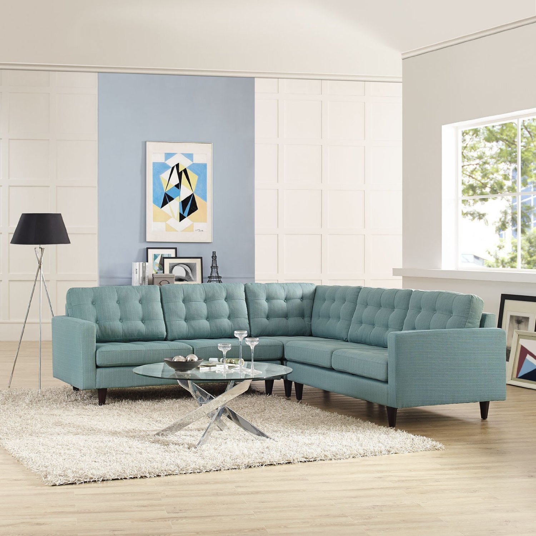 Голубой диван в стиле хай-тек