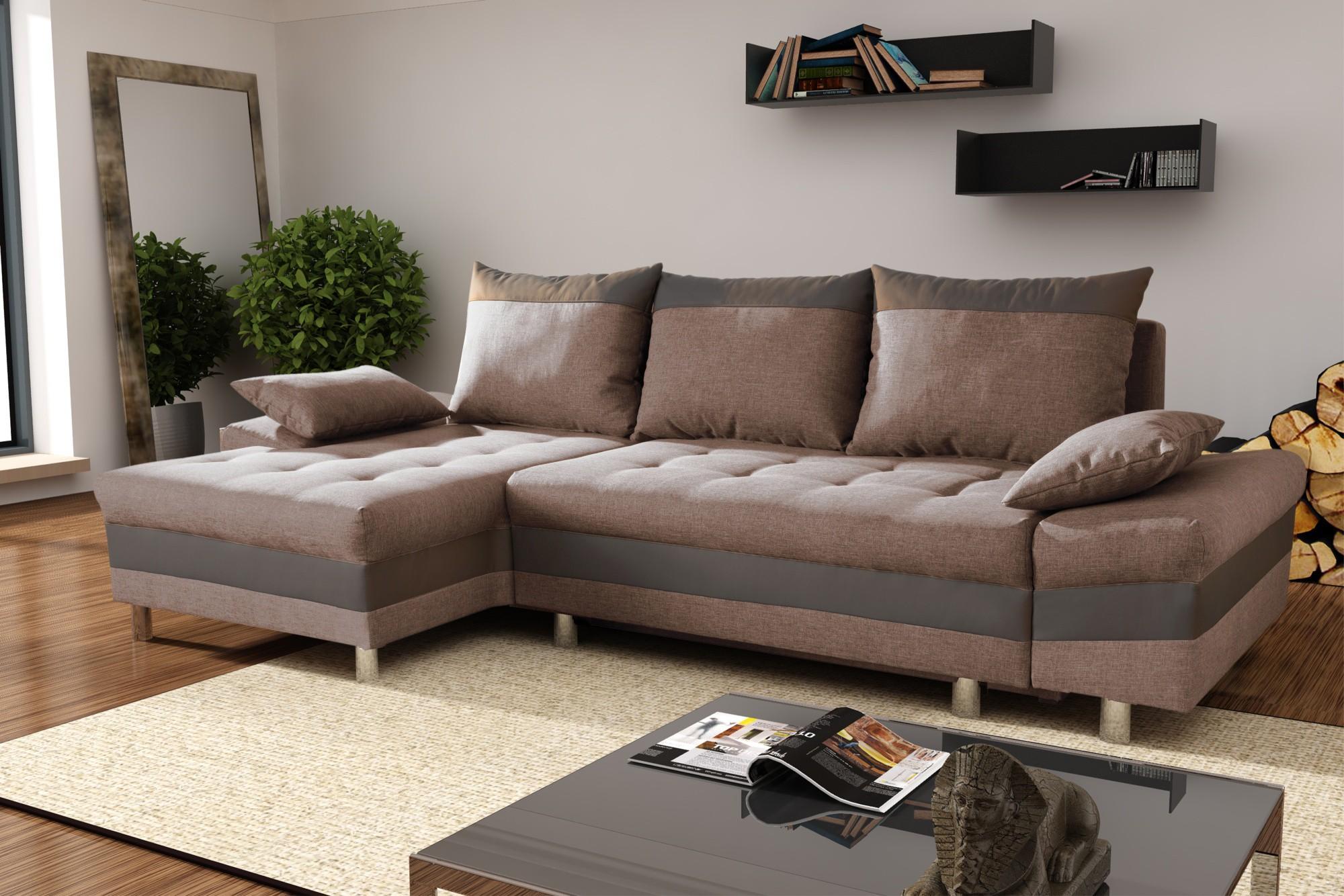 Коричневый диван с хлопковой обивкой