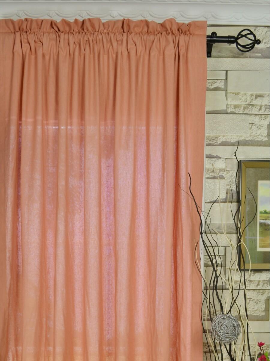 Персиковые шторы из хлопка