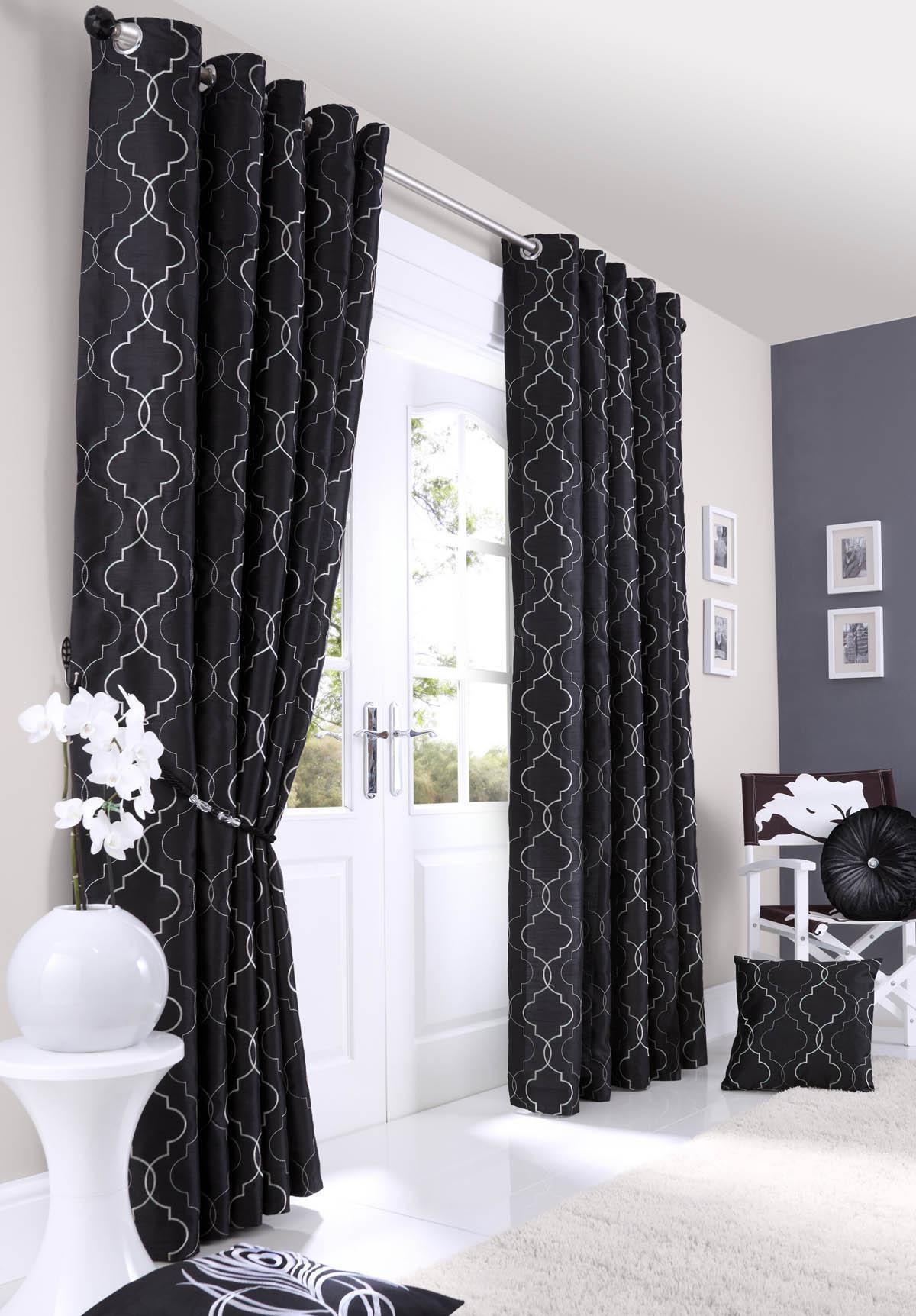 Черно-белые шторы из хлопка