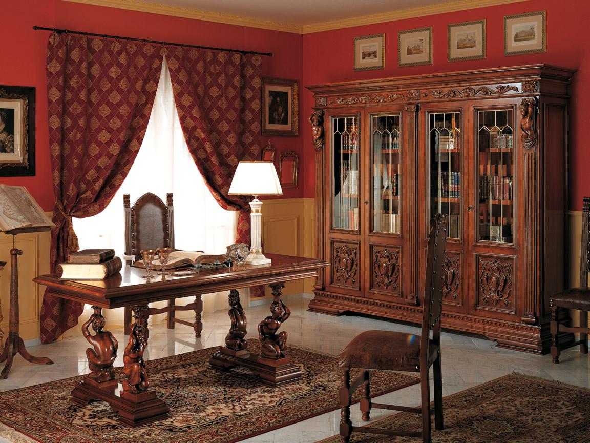 Бордовые шторы в кабинете
