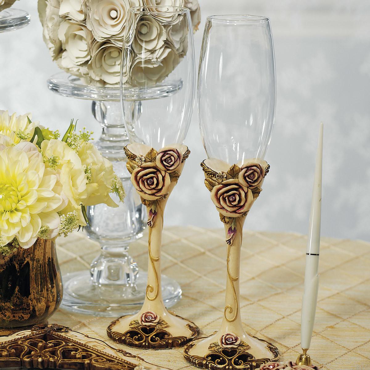 Свадебные бокалы с керамическим декором