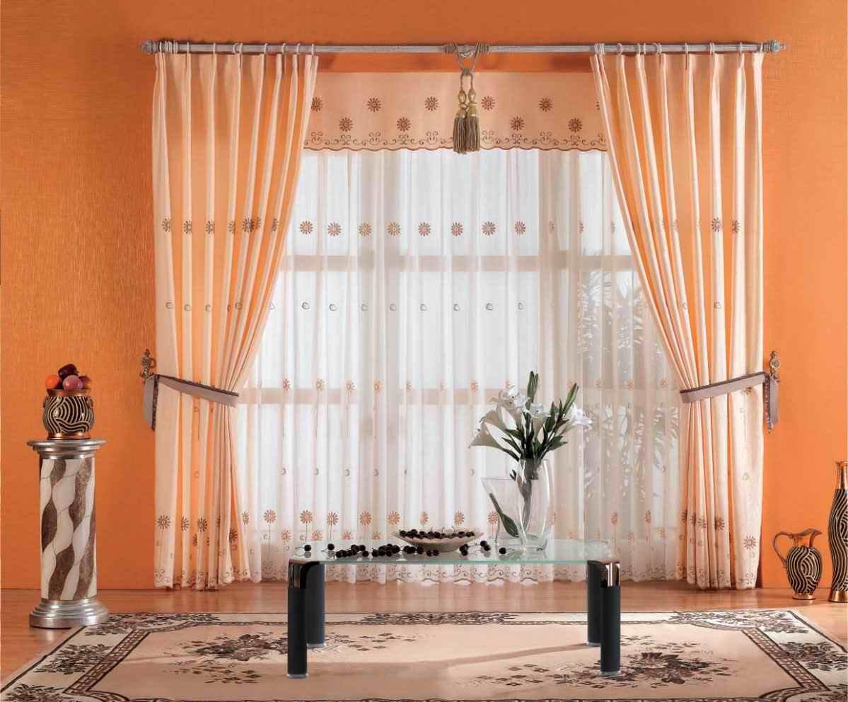 Персиковые шторы на кольцах